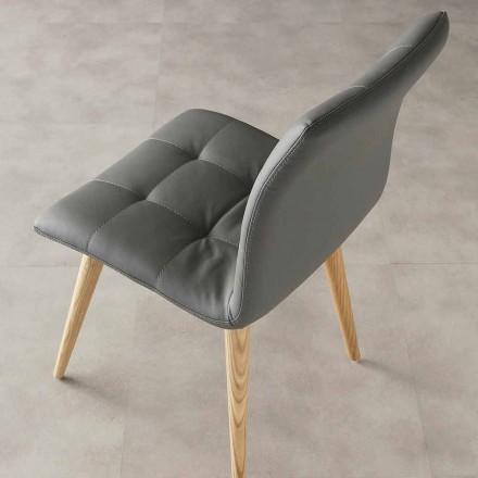 gebeiztem Holz Stuhl in Kunstleder gepolstert Lila