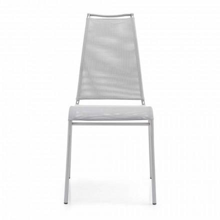 Lebender Stuhl mit hoher Rückenlehne aus Satinstahl Made in Italy,2 Stücke - Air High