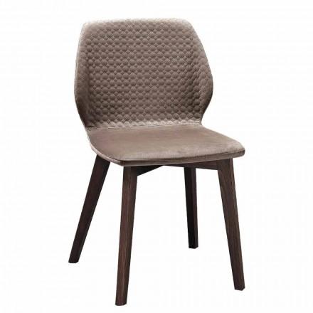 Moderner eleganter Designstuhl aus gestepptem Samt und Holz 4 Stück - Scarat