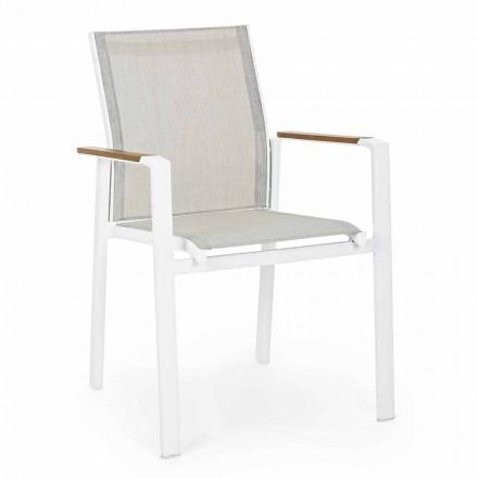 Stapelbarer Outdoor-Stuhl mit Armlehnen aus Aluminium Homemotion - Sciullo