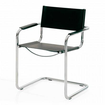 Besprechungsstuhl aus schwarzem Leder und Metall - Cirillo
