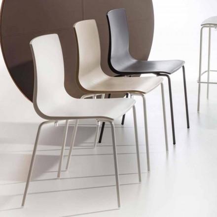 Esszimmerstuhl aus Polypropylen mit Metallfuß, 4 Stück - Alina