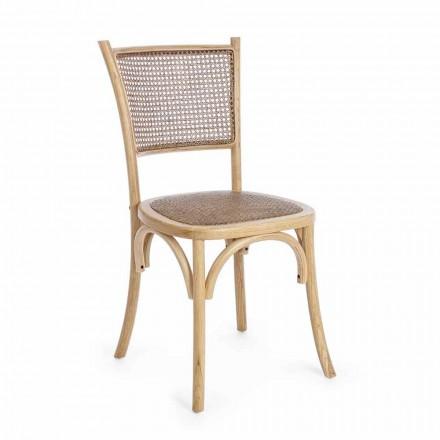 Esszimmerstuhl aus Rattan und Holz Klassisches Design Homemotion - Meridia