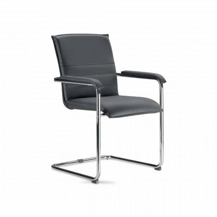 Besprechungsstuhl oder Konferenzraum aus Kunstleder in Schwarz und Metall, 2 Stücke - Oberon
