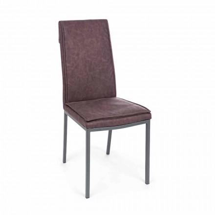 Stuhl gepolstert in Kunstleder Vintage-Effekt 4 Stück Homemotion - Irama