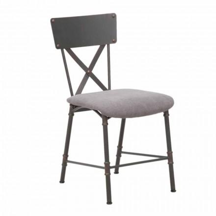 Industrial Design Esszimmerstuhl aus MDF und Metall - Elodie