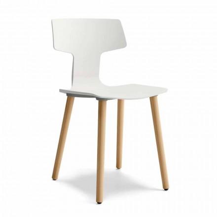 Esszimmerstuhl aus Holz und Polypropylen Made in Italy, 2 Stück - Klee