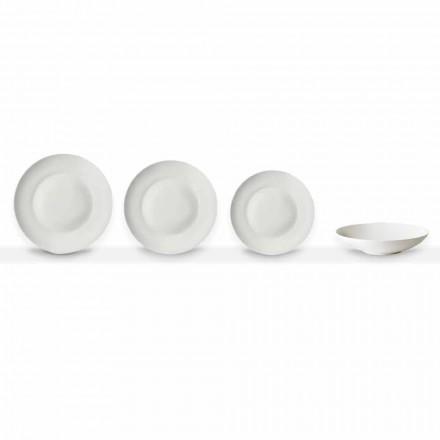 Set mit 24 weißen Porzellantellern im klassischen Design - Romilda