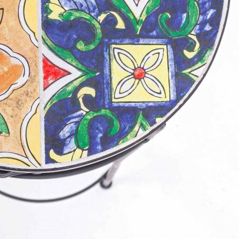 Service 3 runde Gartentische aus Stahl und Dekoren - bezaubernd