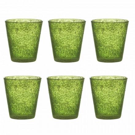 Set mit 12 farbigen geblasenen Glasgläsern mit modernem Design - Pumba
