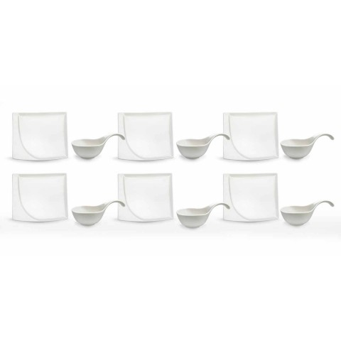 Aperitif Service 12 Stück moderne weiße Porzellan-Design-Platten - Nalah