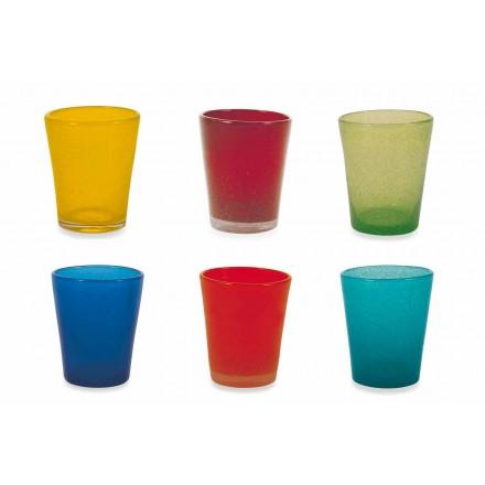 Wasserglas Service 6 Stück geblasenes und farbiges Glas - Yucatan Folk