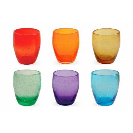 Set mit 12 farbigen und modernen geblasenen Glaswassergläsern - Guerrero