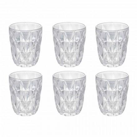 Dekoriertes transparentes Glas Wasserglas Set, 12 Stück - Renaissance