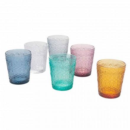 Farbige und dekorierte Glaswassergläser Service, 12 Stück - Pizzotto