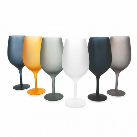 Rot- oder Weißweinbecher Set aus farbigem Glas, 12 Stück - Rand