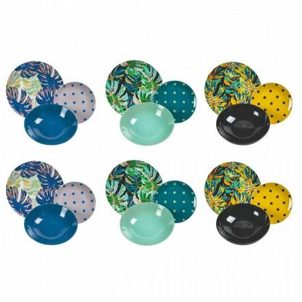 Porzellan und Steinzeug Tisch Service farbige Teller 18 Stück - Riodeja
