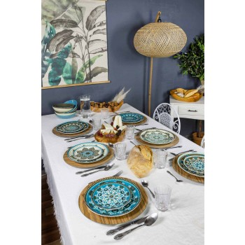 Blau gefärbtes Porzellangeschirr Set 18 Stück - Eivissa