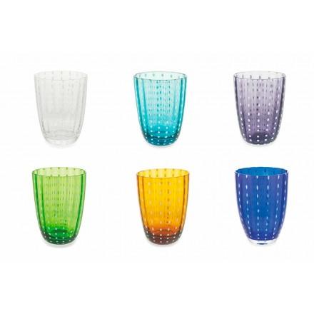 Set mit 12 modernen Farbglas-Designgläsern für Wasser - Botswana