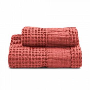 Badetücher aus farbiger Wabenbaumwolle und Leinen - Turis