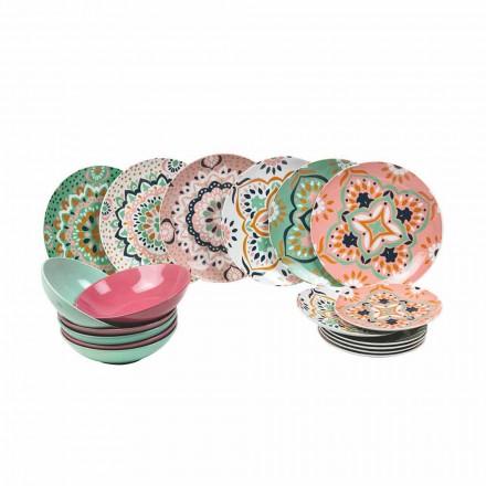 Set farbiges Geschirr aus Porzellan 18 Stück - Playasol
