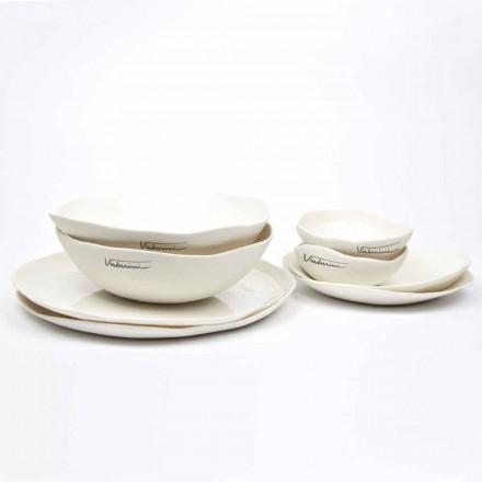 Luxus Design 24-teiliges weißes Porzellan Geschirr Service - Arciregale