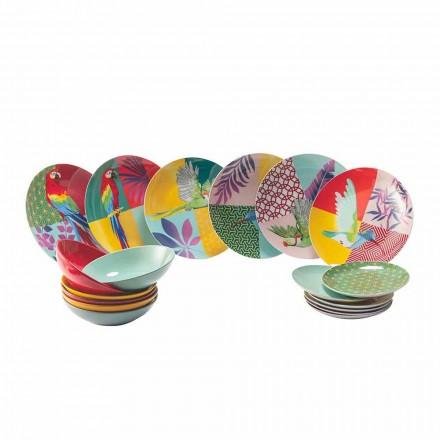 18 Stück farbiges Design Porzellan und Gres Geschirr Service - Tropycale