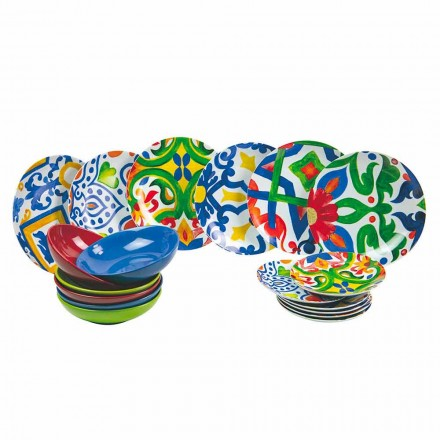 Set von modernen und farbigen Platten in Steinzeug und Porzellan 18 Stück - Ciclade