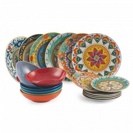 Farbige Teller Set 18 Stück Porzellan und Steinzeug - Renaissance