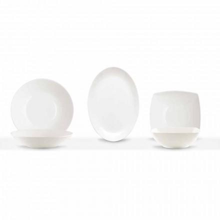 Serviergeschirr 3 Stück Modernes Design aus weißem Porzellan - Malaga