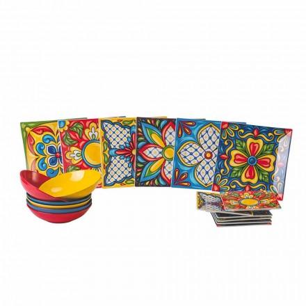 Farbiger Teller-Teller-Service aus Porzellan und Steinzeug 18 Stück - Azteken