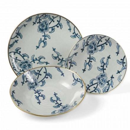 Geschirrset aus blau-weißem Porzellan Modern 18 Pieces - Kyushu