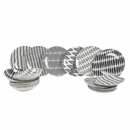 Elegantes Design Schwarz-Weiß Porzellan Geschirr Set 18 Stück - Tansania