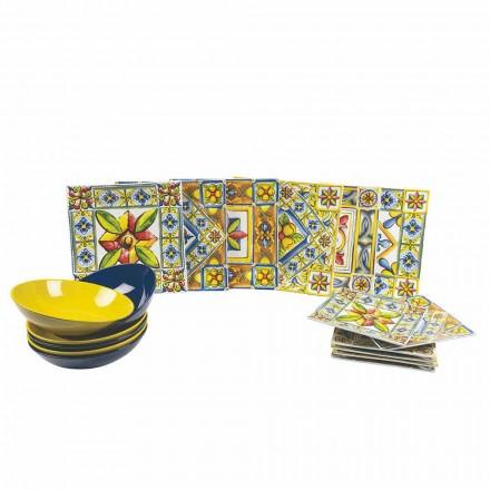 Satz moderne farbige quadratische Teller in Porzellan 18 Stück - Sommer