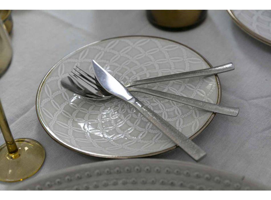 Besteckset 24 Stück Komplettes modernes Design in Stahl - Gestreift