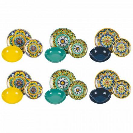 Kompletter Tischservice aus Porzellan und farbigem Steinzeug 18 Stück - Kalabrien