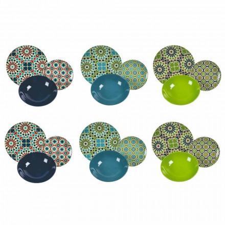Tischgeschirr Porzellan und modernes farbiges Steinzeug 18 Stück - Getreidespeicher