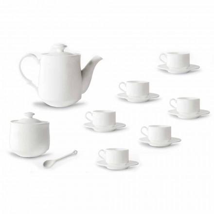 Kaffeetasse Set in weißem Porzellan Design stapelbar 15 Stück - Samantha