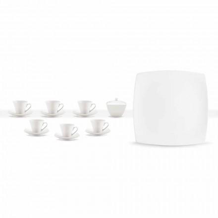 Weiße Porzellan Kaffeetassen Service Modernes Design 8 Stück - Dom
