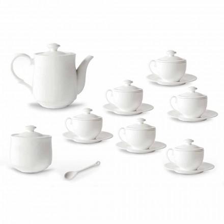 Weißes Porzellan Teetasse Set 21 Stück mit Deckel - Samantha