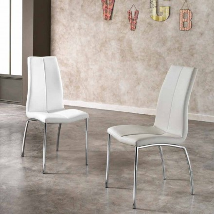 Stuhl im 4er Set aus Kunstleder und Metall verchromt