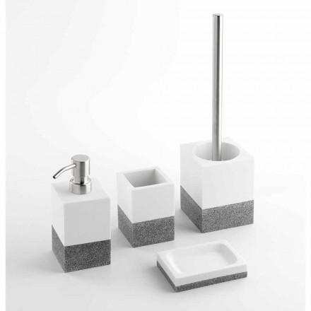 Designer-Badaccessoires in Weiß und Grau - Saeda