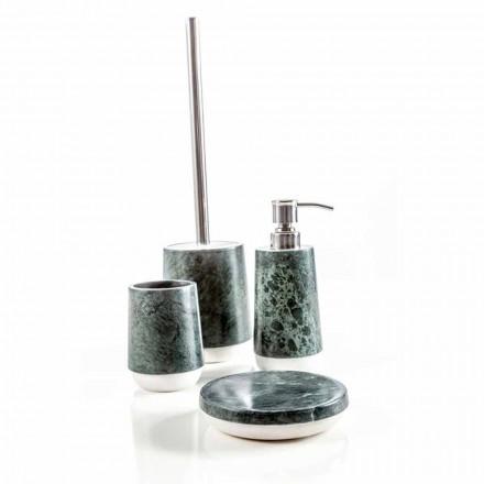 Modernes Badezimmerzubehör aus meliertem grünem Marmor Bombei