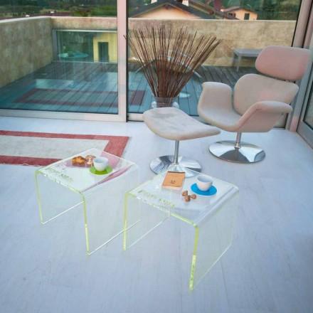 Set aus 2 Nachttischen im modernen Design aus Methacrylat Made in Italy - Leielui