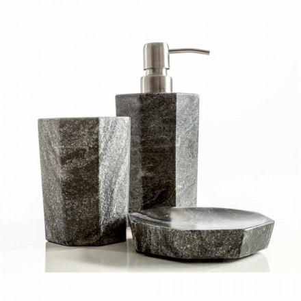 Modernes Badezimmerzubehör aus grau geädertem Marmor Montafia