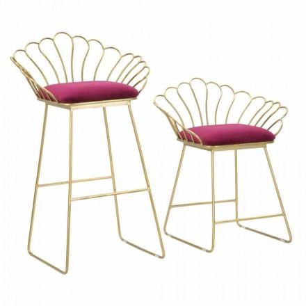 Paar farbige moderne Designhocker aus Eisen und Polyester - Malika