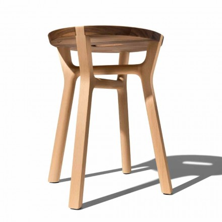 Low Design Hocker aus Buche und massivem Walnussholz Made in Italy - Nuna