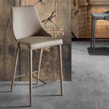 Design Hocker mit hoher Rückenlehne aus Kunstleder - Berenice
