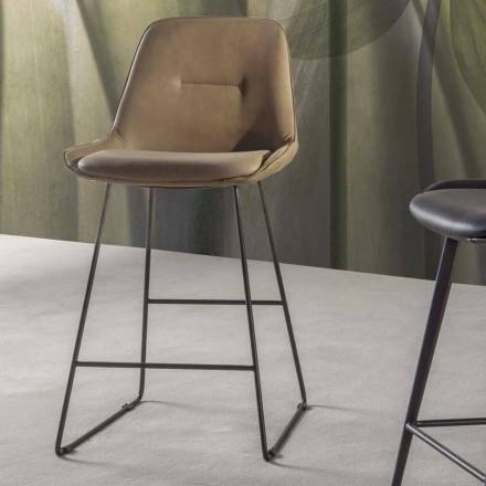 Hocker in modernem Design aus Kunstleder mit Schlittenstruktur - Ines