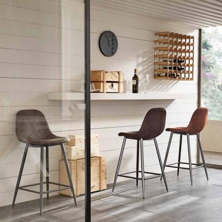 Moderner Design Hocker aus Kunstleder und Metall - Gino